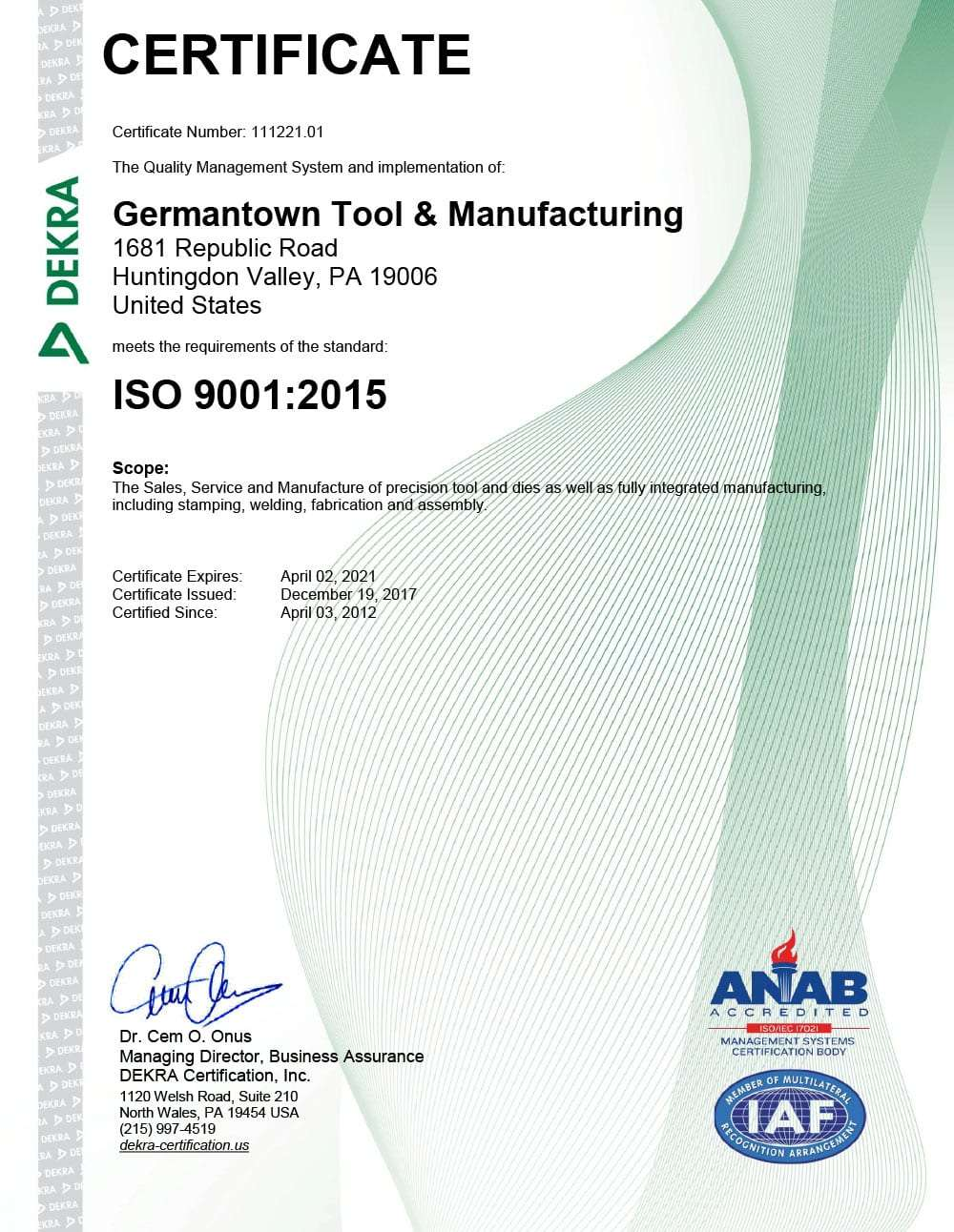 Germantown Tool ISO Certification